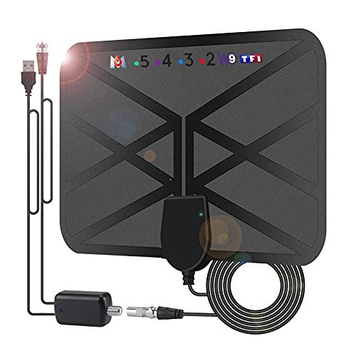 Puissante HD Antenne TV Intérieur, 36DBI 200 km Antenne TNT avec Signal Amplificateur Booster 4.2m Câble Coaxial pour 1080P 4K Chaînes Télévision