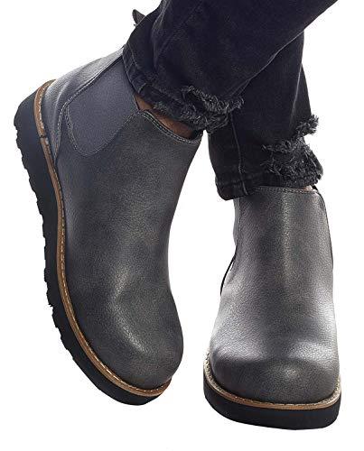 Leif Nelson Herren Schuhe Klassische Stiefel Freizeitschuhe Boots Elegante Winterschuhe Männer Sneakers LN159; 40, Anthrazit