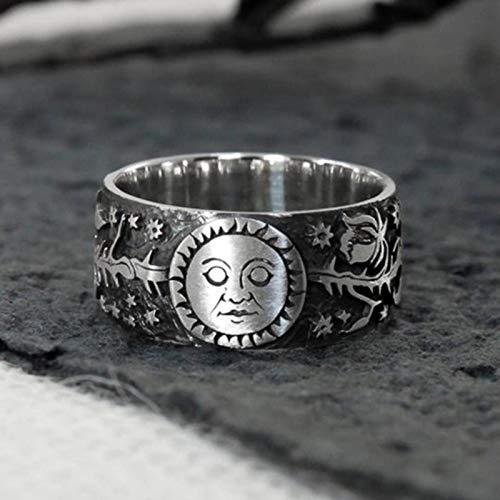 liuliu New Vintage Metallic Style Couple Finger Rings Sun Moon Star Leaves Pattern Antique Daily Wear Women Rings Retro Jewelry