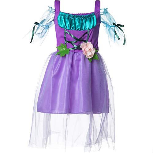 dressforfun 900344 - Disfraz de Chica Hada Mgica de Las Flores, Vestido con Tiras en Prpura (128 | No. 301706)