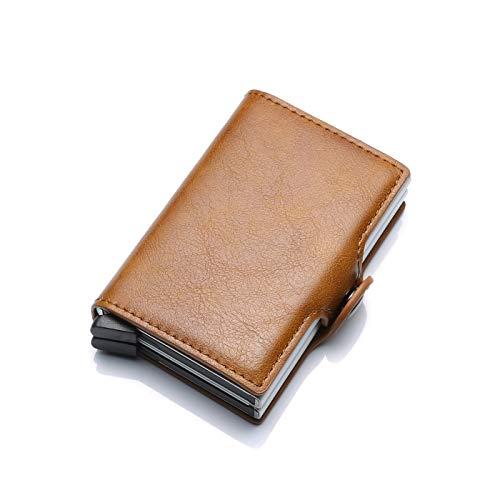 Tarjeteros para Tarjetas de Credito, Fundas de Tarjetas Credito para Hombre Mujer, Automático Pop Up Monederos de Tarjeta, Tarjetero de Metal con Clip de Dinero Anti-RFID y NFC (Marrón, Doble Capa)