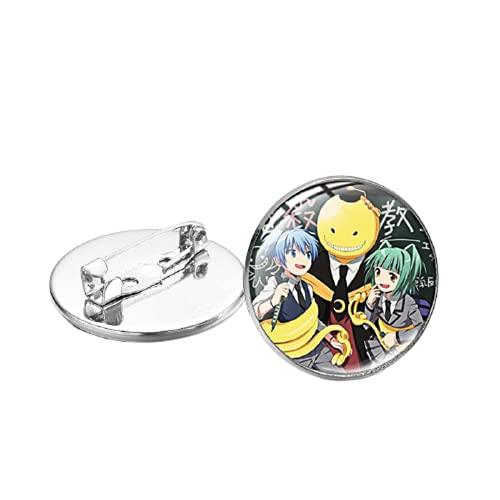 Assassinio Classroom Korosensei Spilla Pin Shiota Nagisa Akabane Karuma Q Figure Vetro Rotondo Pins Distintivi per Zaino