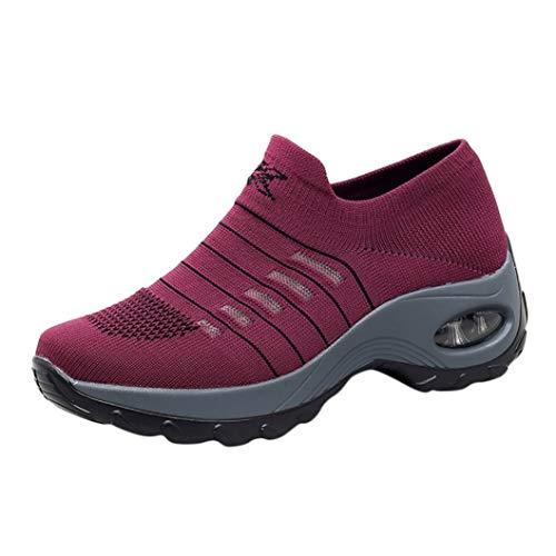 Plateauschoenen Voor Dames Zomer Ademende Wandelschoenen Met Sleehak Slip On Toning Rocker Bottom Sneakers Lichtgewicht Hardloopschoenen Voor Buiten