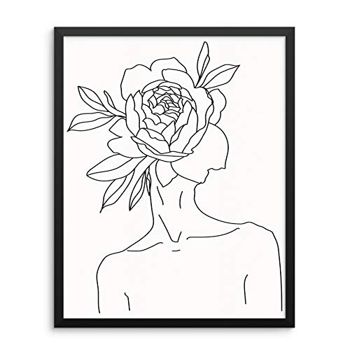 Sincerely, Not One Line Wall Art Print Abstract Womans Body Shape with Flower Home Decor Poster 11x14 UNFRAMED Minimalist Artwork for Living Room Bedroom Bathroom (11x14 Flower Head)