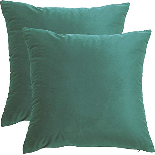BlueCosto (2_Verde-B Terciopelo Fundas de Cojines Funda de cojín para sofá Almohada Dormitorio Coche Suave Decoración 45 x 45 cm