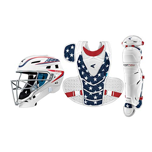 """Easton JEN SCHRO The Very Best Catcher's Protective Box Set, Large, Stars and Stripes, Large Helmet, 17"""" Chest Protector, 15"""" Leg Guards"""