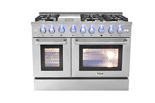 """Thorkitchen HRD4803U 48"""" Freestanding Professional Style Dual Fuel Range with 4.2 and 2.5 cu. ft. Double Oven, 6 Burners, Griddle, Convection Fan, Stainless Steel"""