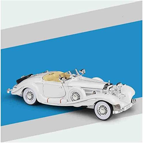 YZHM 1,18 Diecast Ziehen Sie den Auto Mercedes 500K-Legierung Spielzeug Türen und Hauben bewegliches Fahrzeug für Sammlung geeignet für Männer und Frauen Autoliebhaber, rot,Weiß