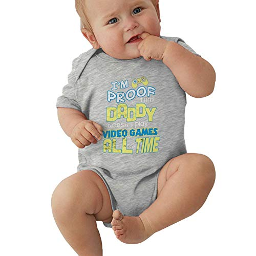 """Body in jersey per bambini a maniche corte con scritta in inglese """"I'm Proof Daddy Does Not Play Videogiochi All The Time Tee Baby Boy Girl Bodusuit Outdoor, grigio, 12 Meses"""