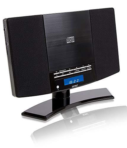 Denver MC-5220 MK2 CD Player Stereo - Wall Mountable, FM Radio, Clock Alarm & Remote   Black