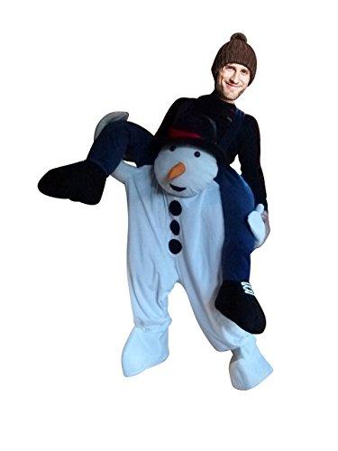 Ikumaal Carry me Schneemann-Kostüm, F113 Gr. M-XL, Schneemann als Huckepack für Männer und Frauen, Paar-Kostüme Gruppen-Kostüme, Fasching Karneval, Faschings-Kostüme, Geburtstags-Geschenk Erwachsene