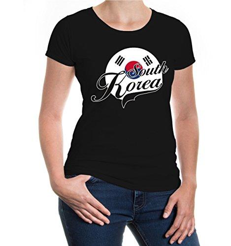 buXsbaum® Damen Girlie T-Shirt Südkorea Logo | South Korea Corea del Sur Coree du Sud Asien Trikot Reise | XXL, Schwarz