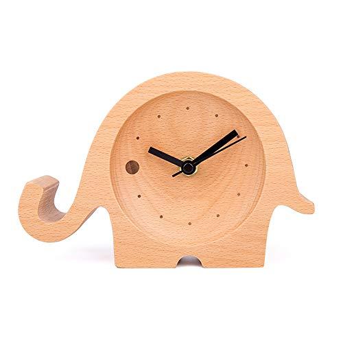 DAMAI STORE Reloj De Elefante De Dibujos Animados De Madera Maciza Reloj De Sobremesa For Niños Reloj De Sobremesa En Casa Sala De Estar Estudio Decoración Artesanía De Madera Regalo Creativo