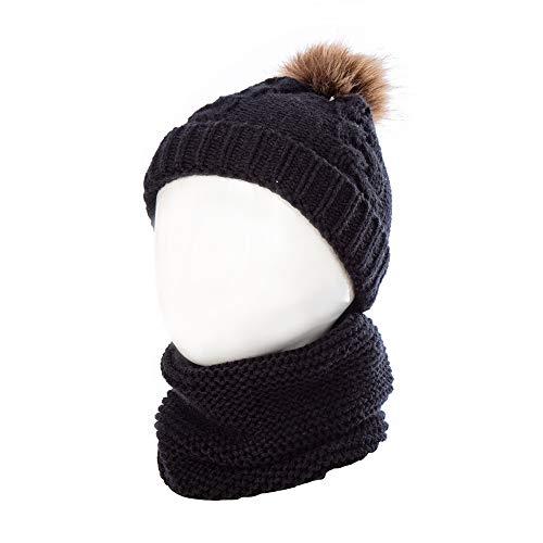TAGVO Bonnet Chapeau Enfant d'hiver Cercle Echarpe Ensemble, Chaud Enfant Bonnet pour Tout-Petits avec Cache-Cou pour Bébé Knfants Filles Garçons