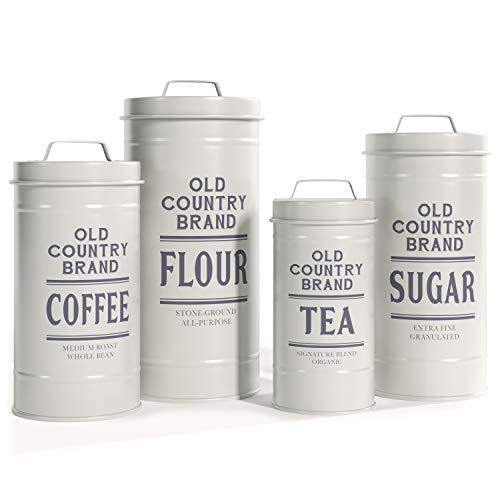 """Barnyard Designs Decorative Nesting Kitchen Canister Jars with Lids  White Metal Rustic Vintage Farmhouse Container Decor for Flour Sugar Coffee Tea Storage  Set of 4  Largest is 5.5"""" x 11.25"""""""