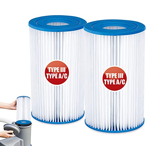 Pool Filter Cartridge Easy Set- Pool Filters Type A or C Replacement for Inflatable Pools Hot Tub Spa Compatible with Intex, Bestway, Summer Waves Above Ground Pool Pump 1000 GPH,2 Pack