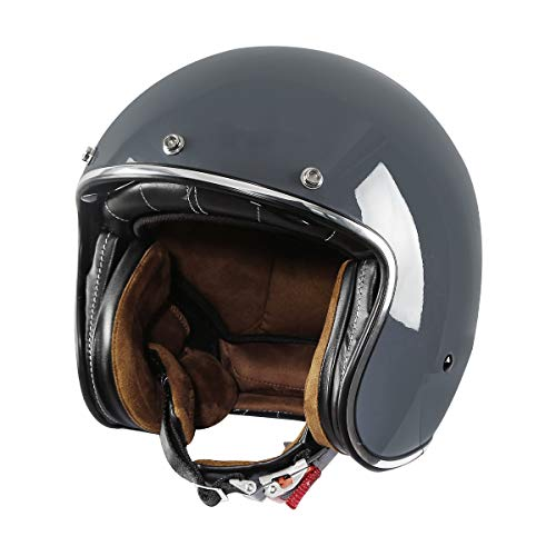 TCMT Adult Motorcycle 3/4 Open Face Helmet with Tinted Visor for Cafe Racer Retro Vintage DOT Approved Helmet