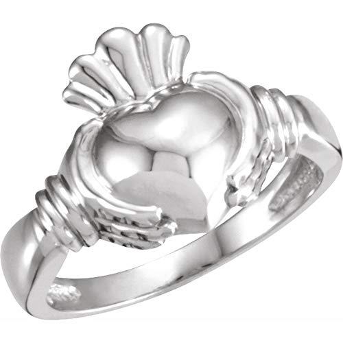14ct White Gold Men's Claddagh Ring, Size V 1/2