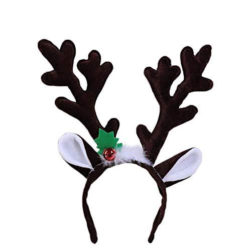 Diadema Navideña Reno Asta Campana Pelo Aro Banda Para La Cabeza Broche Largo Lindo Sombreros Disfraz Accesorios Decoración Navidad,Dark Brown