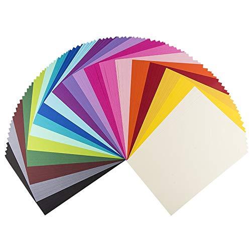 Ideen mit Herz Deko-Karton Anna, Leinen-Optik, DIN A4, 100 Bogen | 20 Farben | Bastelpapier, Tonkarton, Tonpapier, Buntpapier | Grußkarten & Geschenkanhänger basteln | Scrapbooking