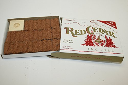 1 X Paine's Red Cedar - 32 Cones With Holder - Real Wood Incense by Paine Products (Paine's)