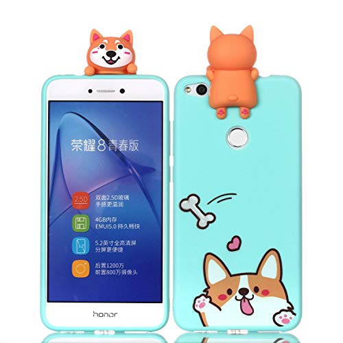 LAXIN Cartoon TPU Case for Huawei P8 Lite (2017),Soft 3D Silicone Case,Cute Smiling Dog Animal Rubber Cover,Cool Kawaii Cartoon Gel Cover for Kids Girls Fun Soft Silicone Shell