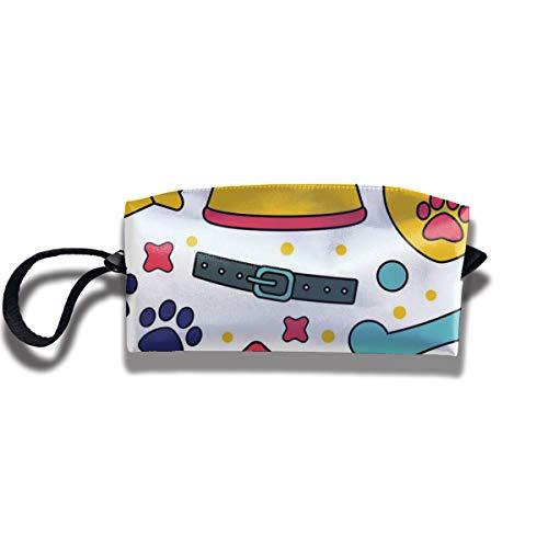 Doinh Pet Nahtlose Muster Hintergründe für Haustier-Shop Kleine Kosmetiktasche Reisetasche Reißverschluss Wasserdicht Aufbewahrungstasche Tragbare Kosmetiktasche Pailletten Tasche für Mädchen
