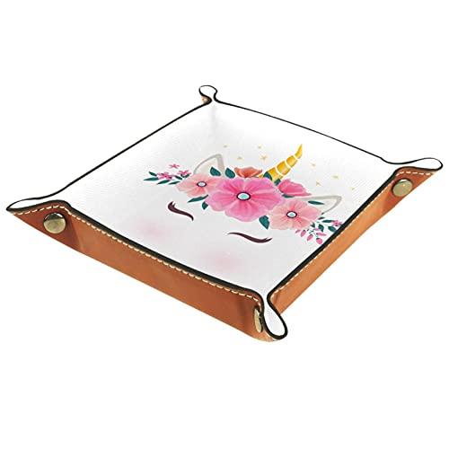 Bandeja de dados de metal para juegos de rol, DND y otros juegos de mesa, soporte para dados caja de almacenamiento, tabla de protección, doble cara plegable Sqaure cuero PU flores y hojas unicornio
