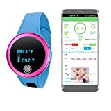 Smart Armpit Thermometer Watch Real-Time Continuous Temperature Monitor with Fever Alarm Record for Infant Toddler Kid Adult (Orange)