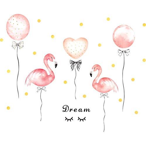 Wandtattoo Pink Flamingo Ballon Wohnzimmer Schlafzimmer Büro erfrischend Persönliche Kunst abnehmbar Wandaufkleber Dekor