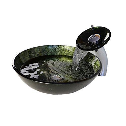 HomeLava modernes Hartglas-Waschbecken mit Wasserfall-Wasserhahn, mit Abfluss und Montagering.