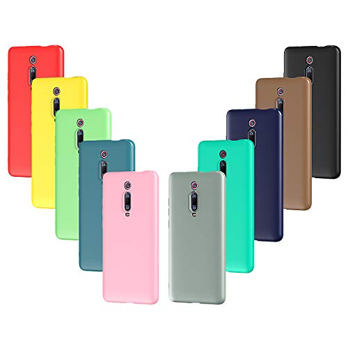 VGUARD 10x Hülle für Xiaomi Mi 9T / Xiaomi Mi 9T Pro, Ultra Dünn Tasche Schutzhülle Weiche TPU Silikon Handyhülle Hülle Cover (Schwarz, Grau, Dunkelblau, Himmelblau, Blau, Grün, Rosa, Rot, Gelb, Braun)
