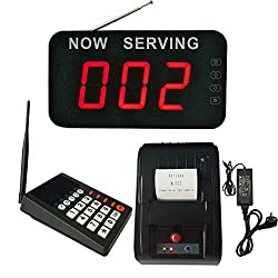 Take A Number System Wireless Queue Calling System Queue Management System with Thermal Printer for Medical Clinic Restaurant Hospital Bank Waitting (1 keypad 1 Display 1 Printer)