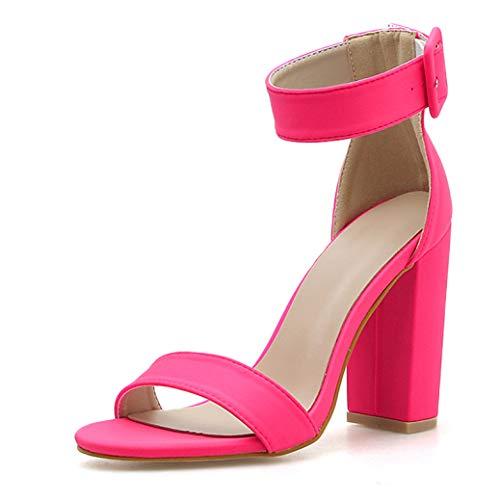 Feisette Fluorescent Green Peep Toe High Heel Women Sandals Buckle Strap Ankle-wrap Ladies Sandals