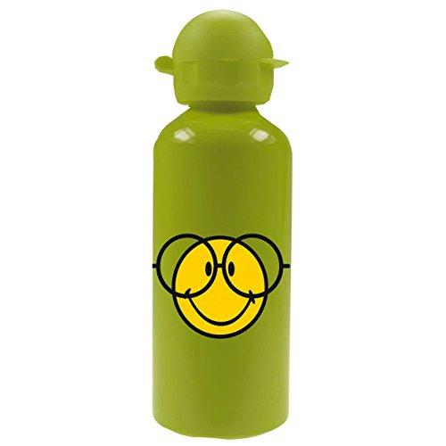 Zak Trinkflasche Smiley 600ml aus Aluminium in grün, 7 x 7 x 22 cm