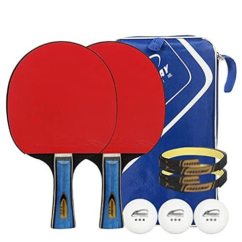 JIANGCJ bajo Precio. Raqueta de Tenis de Mesa - Paquete de 2 Paddle Premium: Paleta de Ping Pong Profesional con Estuche de Transporte - Caucho Aprobado for el Torneo Play-E