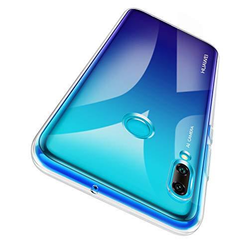 Garegce Coque Huawei P Smart 2019 + Verre trempé Protecteur écran, Transparente Sliicone TPU Case pour Huawei P Smart 2019 - Clair
