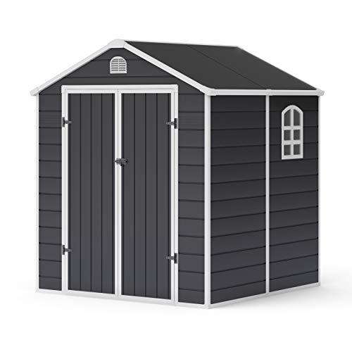 BillyOh 6x6 Ashford Apex Plastic Garden Shed | Plastic Garden Storage Unit | Outdoor Storage | 6ft x 6ft - Grey