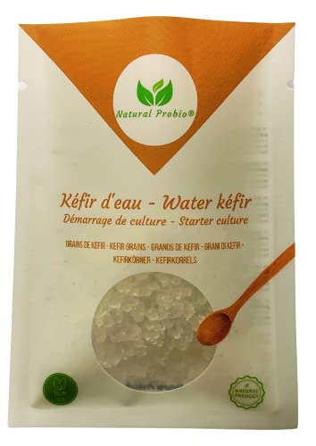 Natural Probio® Kéfir d'eau, Ferment très Actif - Kit de démarrage de Culture - Grains de kefir de Fruit Bio Naturel + Notice complète, Recette et Conseils+ Ebook Offert