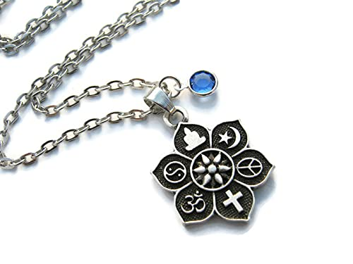 Personalized Coexist Necklace Our shop most popular Birthstone Flower Lotus Rare