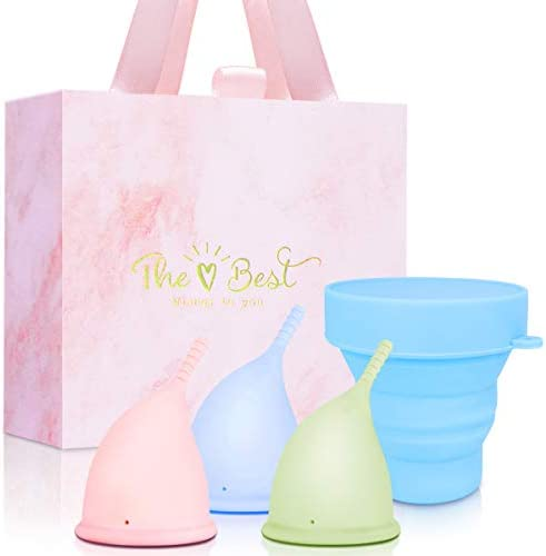 Menstrual Cups Reusable Period Cup Set of 3 with Reusable Collapsible Silicone Cup Feminine product image