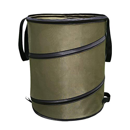 UXELY Gardening Bag Collapsible Garden Waste Bag, Heavy Duty Reusable Yard Waste Bag Gardening Bag Trash Can Leaf Bin Container with Release Buckle & 2 Handles