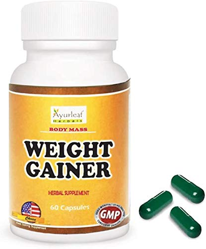 Ayurleaf Weight Gainer Weight Gain Formula Men or Women. Gain Weight Pills (60) Tablets - 1, 2, 3 or 4 Bulk Packs Appetite Enhancer Herbal Supplement. Skinny get Curves Body Mass. ((1) One Bottle)