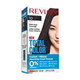 Revlon Total Color Permanent Hair Color, Clean and Vegan, 100% Gray Coverage Hair Dye, 10 Black, 3.5 oz