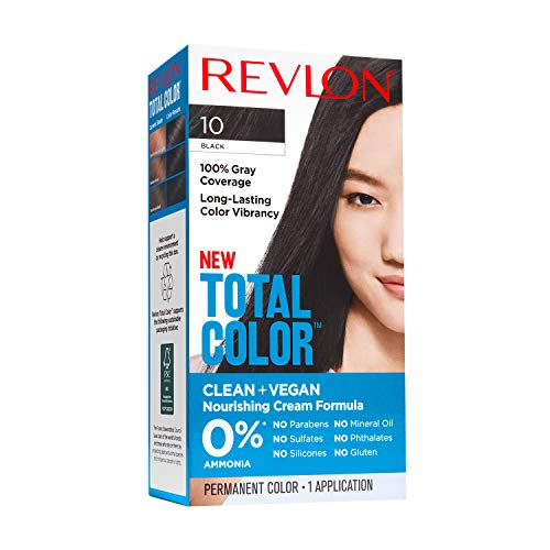 Revlon Total Color Permanent Hair Color, Clean and Vegan, 100% Gray Coverage Hair Dye, 10 Black, 3.5 oz