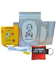 JTKENS - 1 juego de dispositivo de entrenamiento de cardiopulmonio automático francés Mini AED + 1 protector facial 30:2 CPR con llave de anillo.