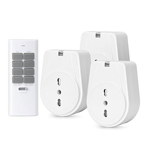 Lunvon Presa Telecomandata Intelligente Elettrica, Telecomando Wireless Interruttore Portata Raggio Massimo 30M, 3 Prese e 1 Telecomandi, 1000W