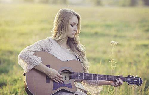 Chica Tocando La Guitarra En La Hierba Verde Diy 5D Ronda Bordado...