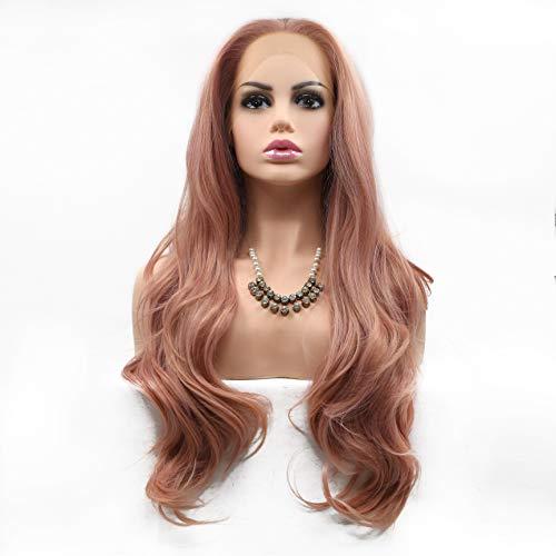 GEMORE Rose Perruques avec Bangs Naturel Vague Longue Perruque synthétique résistant à la Chaleur Perruque 26\
