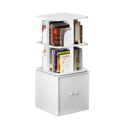 FENGTING Shelves Bookcase Square Rotating Bookshelf Cube Storage with Lockers Save Space Small Footprint Collection CD, Record,4 Sizes (Color : White, Size : 18.11 18.11 55.51in)
